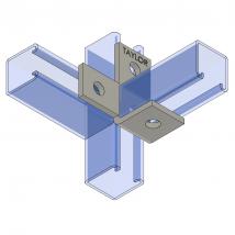 Strut Fitting - Angular, AF410 Four-Hole Offset Bent Angle