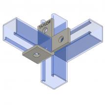 Strut Fitting - Angular, AF411 Four-Hole Offset Bent Angle