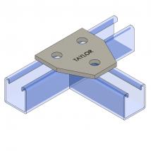 Strut Fitting - Flat, FP502 Three-Hole Tee Gusset